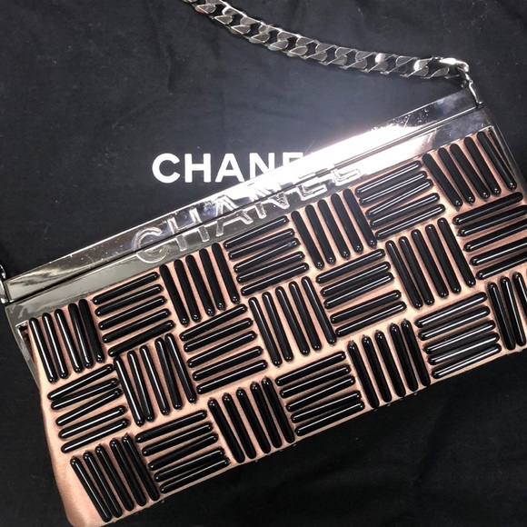 CHANEL Handbags - CHANEL rose satin frame clutch black bead design
